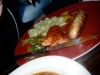 Soup and Currywurst/Alpinewurst plate